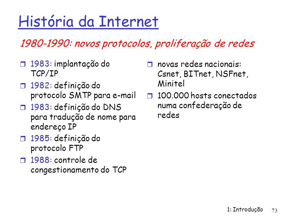 1: Introdução 73 História da Internet 1983: implantação do TCP/IP 1982: definição do protocolo SMTP para e-mail 1983: definição do DNS para tradução d
