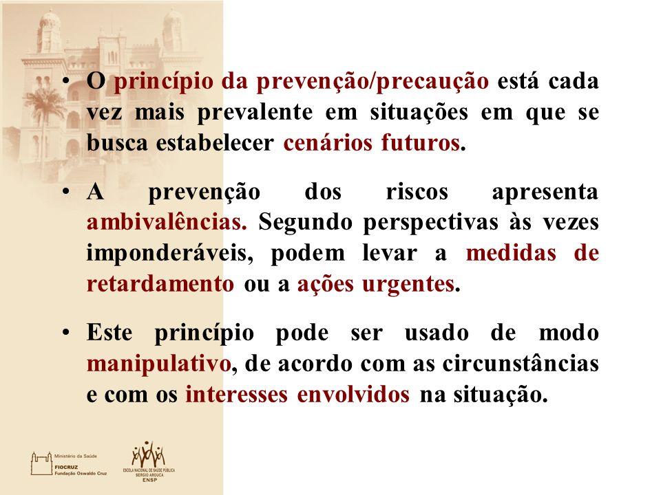 O princípio da prevenção/precaução está cada vez mais prevalente em situações em que se busca estabelecer cenários futuros. A prevenção dos riscos apr