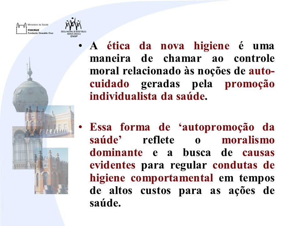 A ética da nova higiene é uma maneira de chamar ao controle moral relacionado às noções de auto- cuidado geradas pela promoção individualista da saúde