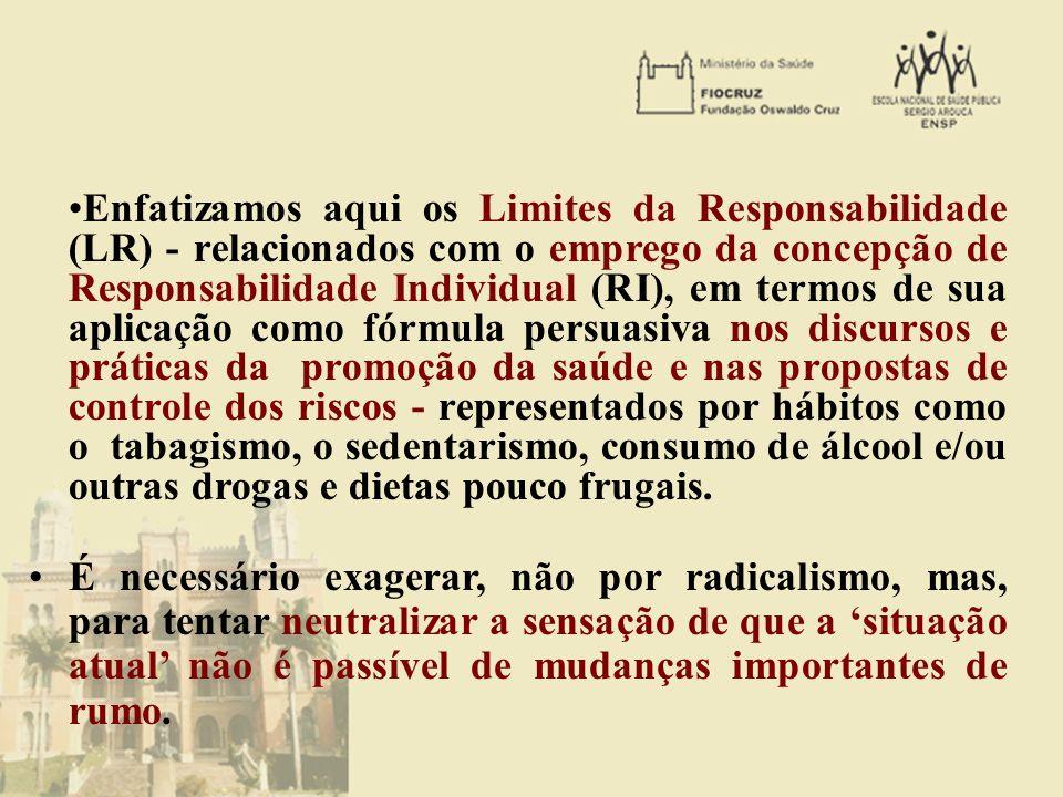 Enfatizamos aqui os Limites da Responsabilidade (LR) - relacionados com o emprego da concepção de Responsabilidade Individual (RI), em termos de sua a
