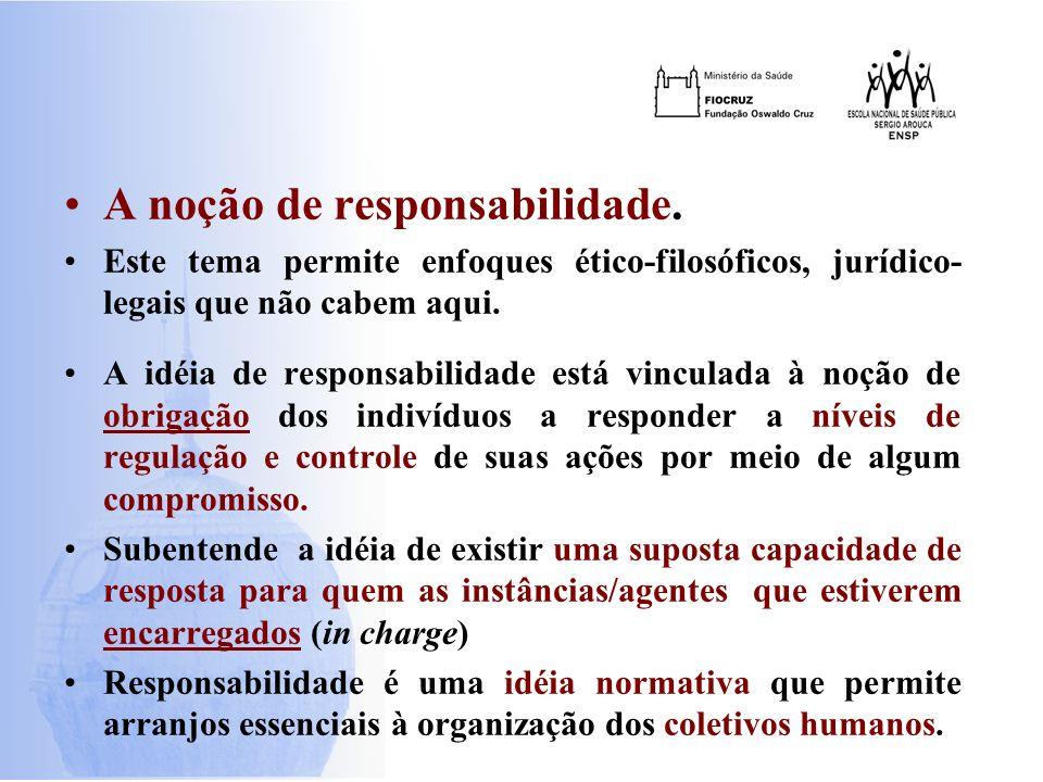A noção de responsabilidade. Este tema permite enfoques ético-filosóficos, jurídico- legais que não cabem aqui. A idéia de responsabilidade está vincu