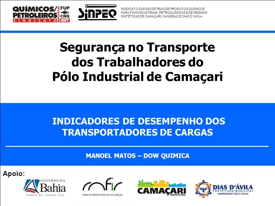 Segurança no Transporte dos Trabalhadores do Pólo Industrial de Camaçari INDICADORES DE DESEMPENHO DOS TRANSPORTADORES DE CARGAS MANOEL MATOS – DOW QU
