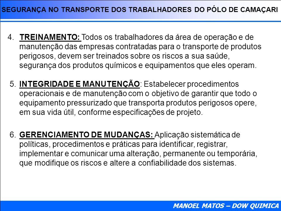 SEGURANÇA NO TRANSPORTE DOS TRABALHADORES DO PÓLO DE CAMAÇARI MANOEL MATOS – DOW QUIMICA 4. TREINAMENTO: Todos os trabalhadores da área de operação e