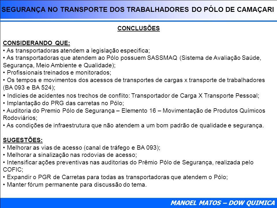 SEGURANÇA NO TRANSPORTE DOS TRABALHADORES DO PÓLO DE CAMAÇARI MANOEL MATOS – DOW QUIMICA CONCLUSÕES CONSIDERANDO QUE: As transportadoras atendem a leg