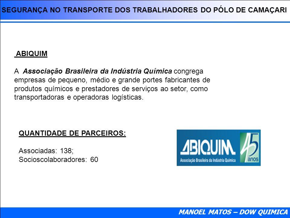 SEGURANÇA NO TRANSPORTE DOS TRABALHADORES DO PÓLO DE CAMAÇARI MANOEL MATOS – DOW QUIMICA ABIQUIM A Associação Brasileira da Indústria Química congrega