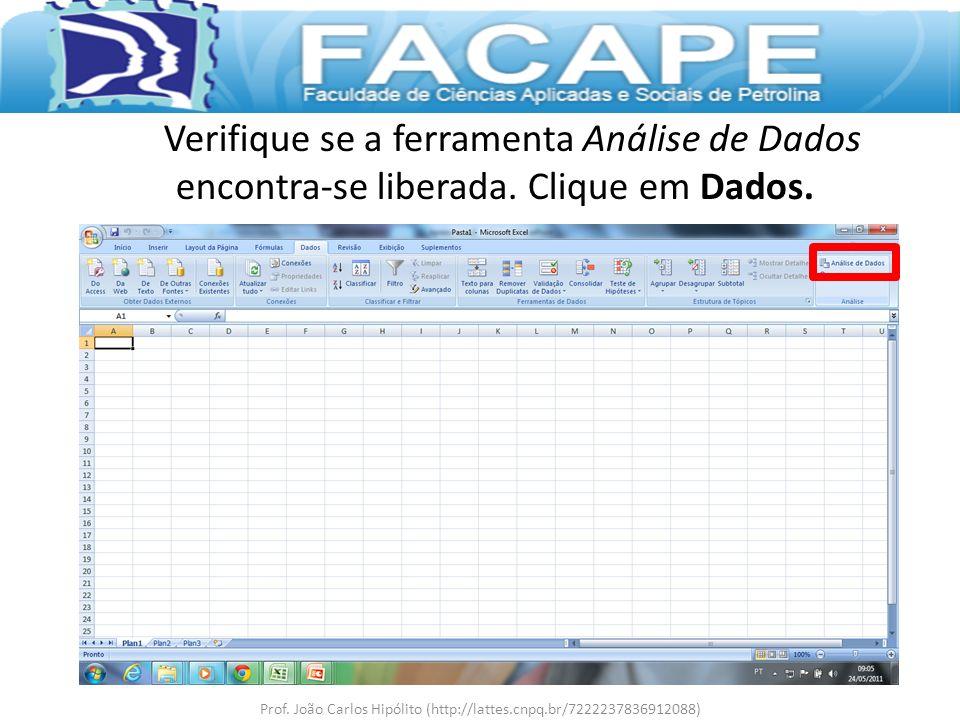 Verifique se a ferramenta Análise de Dados encontra-se liberada. Clique em Dados. Prof. João Carlos Hipólito (http://lattes.cnpq.br/7222237836912088)