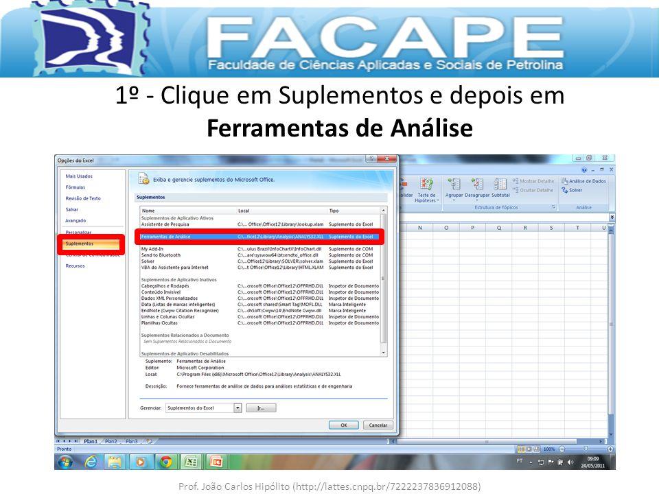 1º - Clique em Suplementos e depois em Ferramentas de Análise Prof. João Carlos Hipólito (http://lattes.cnpq.br/7222237836912088)