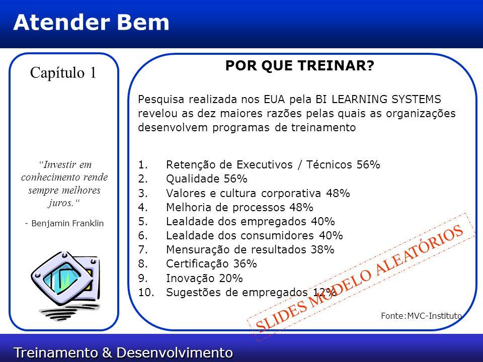 Treinamento & Desenvolvimento Treinamento & Desenvolvimento Atender Bem Capítulo 1 POR QUE TREINAR? Pesquisa realizada nos EUA pela BI LEARNING SYSTEM