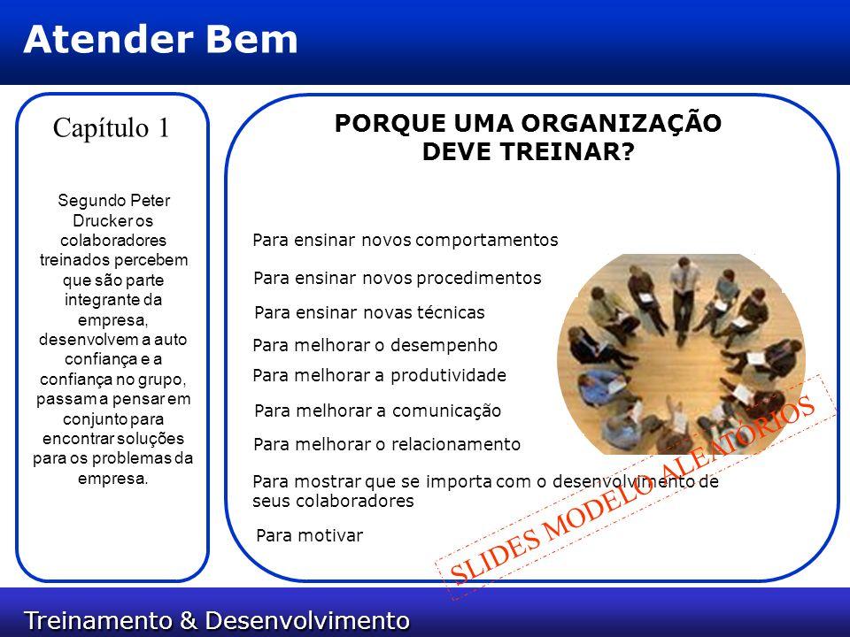 Treinamento & Desenvolvimento Treinamento & Desenvolvimento Atender Bem Capítulo 1 Segundo Peter Drucker os colaboradores treinados percebem que são p