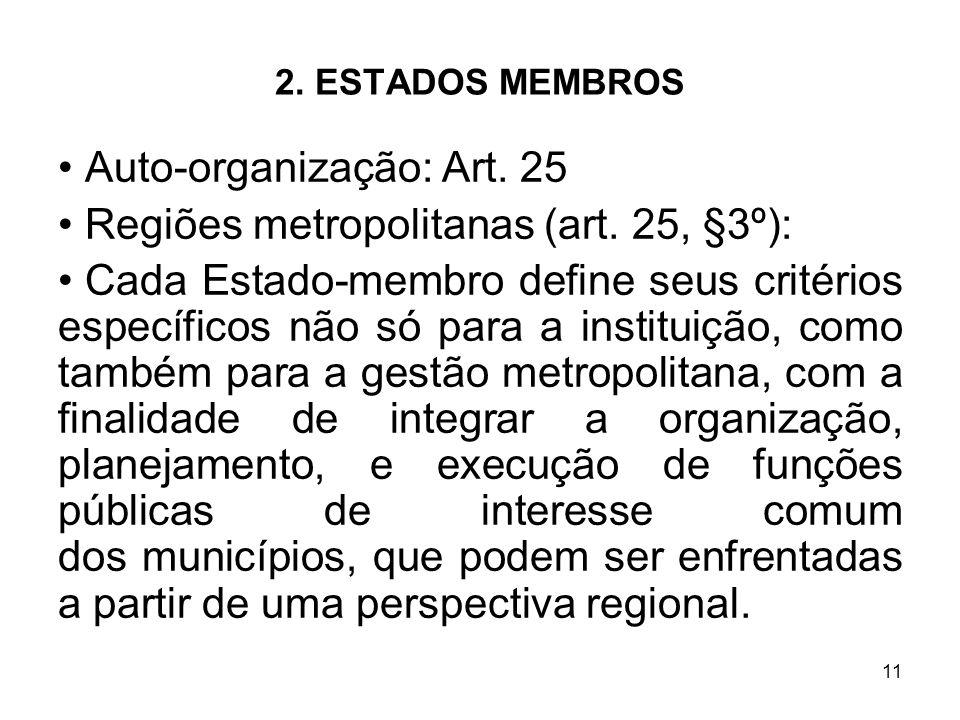 11 2. ESTADOS MEMBROS Auto-organização: Art. 25 Regiões metropolitanas (art. 25, §3º): Cada Estado-membro define seus critérios específicos não só par