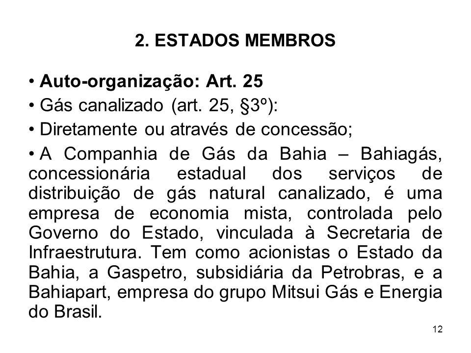 12 2. ESTADOS MEMBROS Auto-organização: Art. 25 Gás canalizado (art. 25, §3º): Diretamente ou através de concessão; A Companhia de Gás da Bahia – Bahi