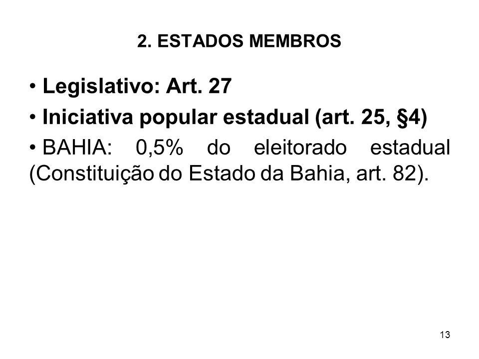 13 2. ESTADOS MEMBROS Legislativo: Art. 27 Iniciativa popular estadual (art. 25, §4) BAHIA: 0,5% do eleitorado estadual (Constituição do Estado da Bah