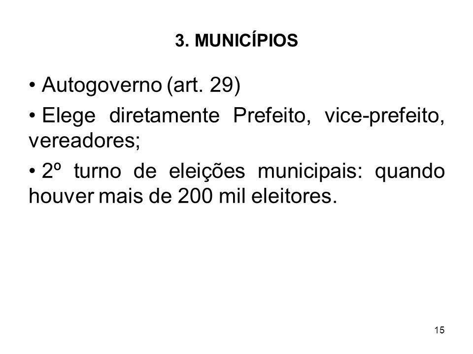 15 3. MUNICÍPIOS Autogoverno (art. 29) Elege diretamente Prefeito, vice-prefeito, vereadores; 2º turno de eleições municipais: quando houver mais de 2