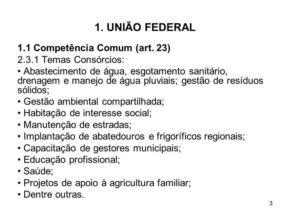 3 1. UNIÃO FEDERAL 1.1 Competência Comum (art. 23) 2.3.1 Temas Consórcios: Abastecimento de água, esgotamento sanitário, drenagem e manejo de água plu