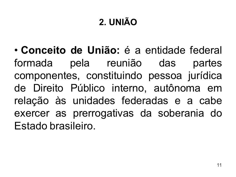 11 2. UNIÃO Conceito de União: é a entidade federal formada pela reunião das partes componentes, constituindo pessoa jurídica de Direito Público inter