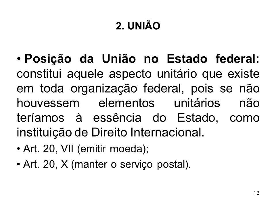 13 2. UNIÃO Posição da União no Estado federal: constitui aquele aspecto unitário que existe em toda organização federal, pois se não houvessem elemen
