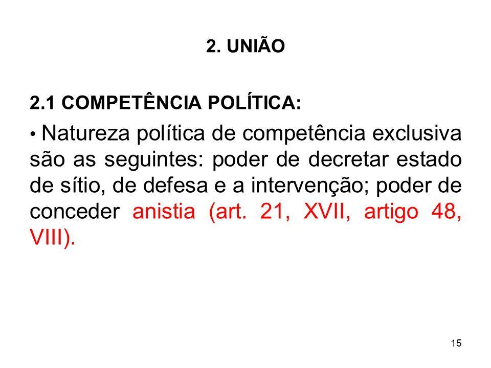 15 2. UNIÃO 2.1 COMPETÊNCIA POLÍTICA: Natureza política de competência exclusiva são as seguintes: poder de decretar estado de sítio, de defesa e a in