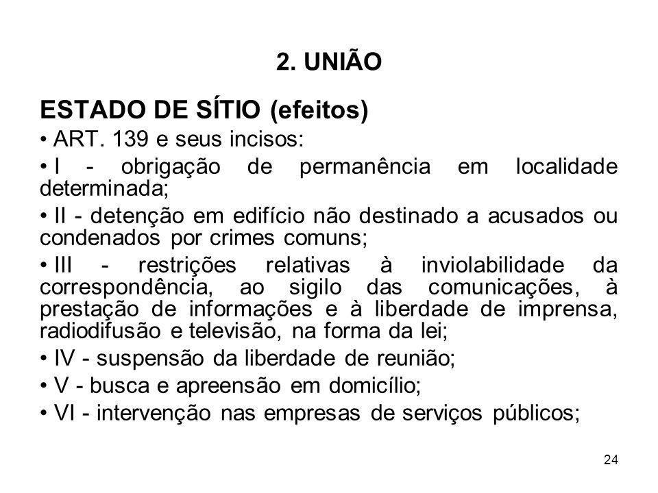 24 2. UNIÃO ESTADO DE SÍTIO (efeitos) ART. 139 e seus incisos: I - obrigação de permanência em localidade determinada; II - detenção em edifício não d