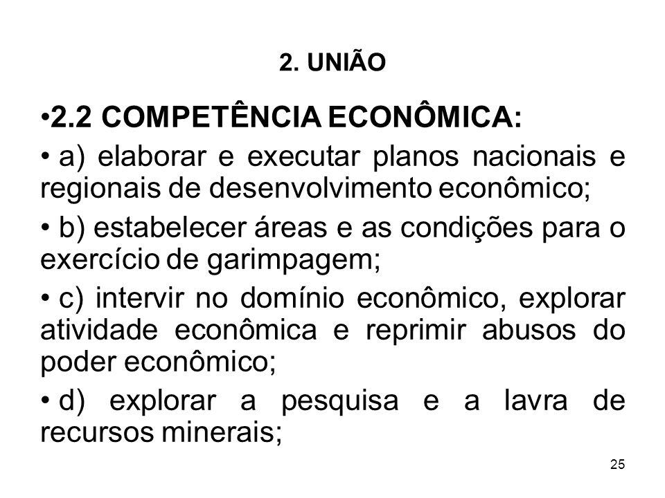 25 2. UNIÃO 2.2 COMPETÊNCIA ECONÔMICA: a) elaborar e executar planos nacionais e regionais de desenvolvimento econômico; b) estabelecer áreas e as con