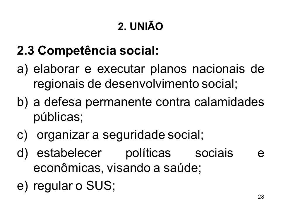 28 2. UNIÃO 2.3 Competência social: a)elaborar e executar planos nacionais de regionais de desenvolvimento social; b)a defesa permanente contra calami