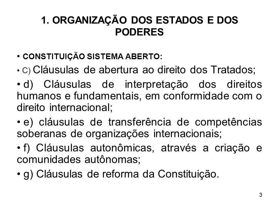 3 1. ORGANIZAÇÃO DOS ESTADOS E DOS PODERES CONSTITUIÇÃO SISTEMA ABERTO: C) Cláusulas de abertura ao direito dos Tratados; d) Cláusulas de interpretaçã