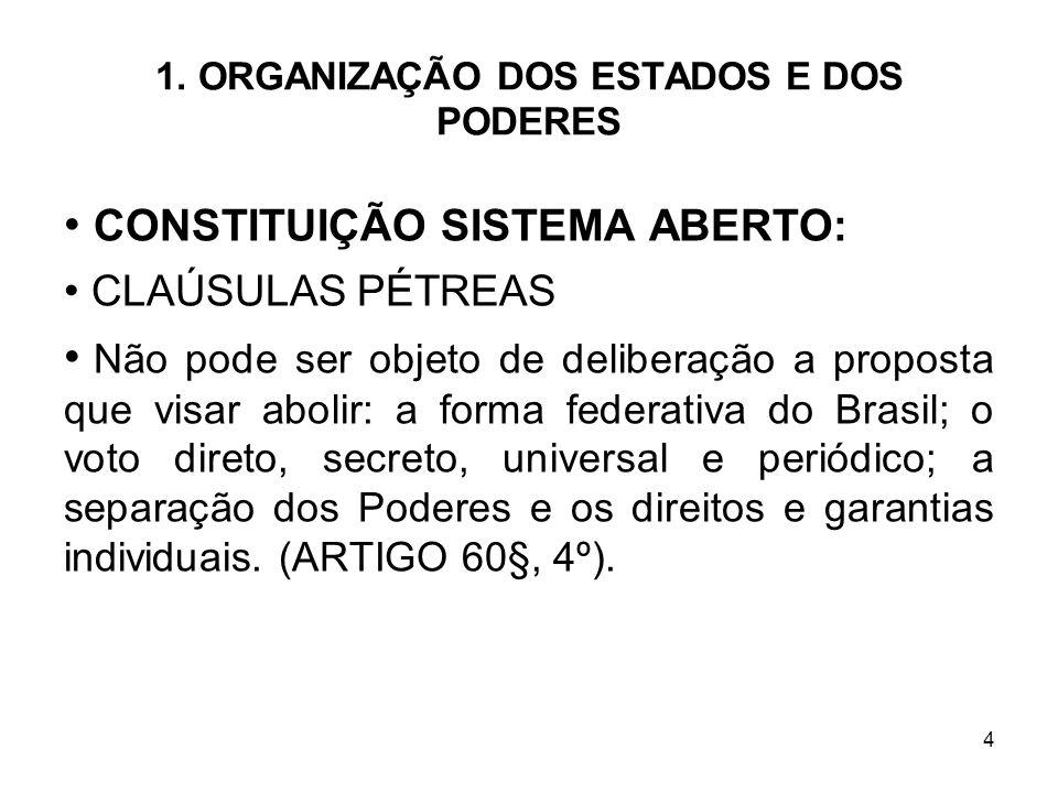 4 1. ORGANIZAÇÃO DOS ESTADOS E DOS PODERES CONSTITUIÇÃO SISTEMA ABERTO: CLAÚSULAS PÉTREAS Não pode ser objeto de deliberação a proposta que visar abol