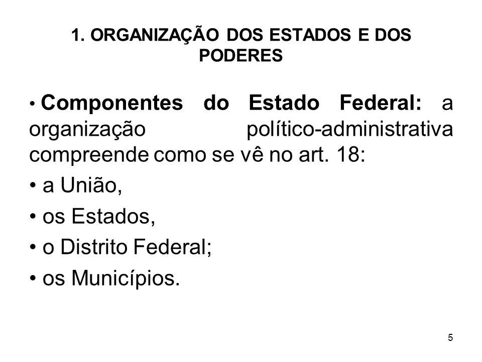 5 1. ORGANIZAÇÃO DOS ESTADOS E DOS PODERES Componentes do Estado Federal: a organização político-administrativa compreende como se vê no art. 18: a Un