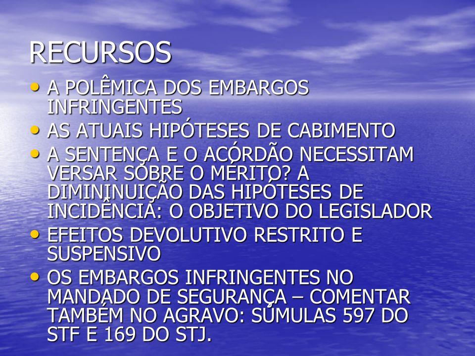 RECURSOS A POLÊMICA DOS EMBARGOS INFRINGENTES A POLÊMICA DOS EMBARGOS INFRINGENTES AS ATUAIS HIPÓTESES DE CABIMENTO AS ATUAIS HIPÓTESES DE CABIMENTO A SENTENÇA E O ACÓRDÃO NECESSITAM VERSAR SOBRE O MÉRITO.