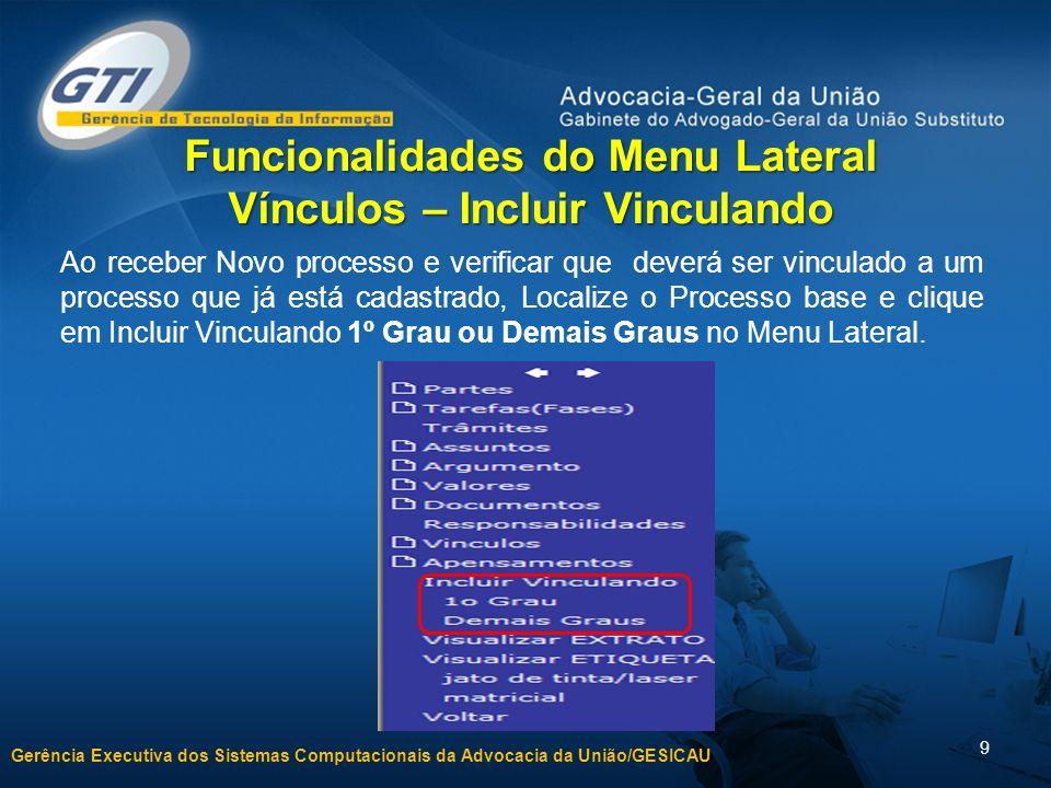 Gerência Executiva dos Sistemas Computacionais da Advocacia da União/GESICAU 9 Funcionalidades do Menu Lateral Vínculos – Incluir Vinculando Ao recebe
