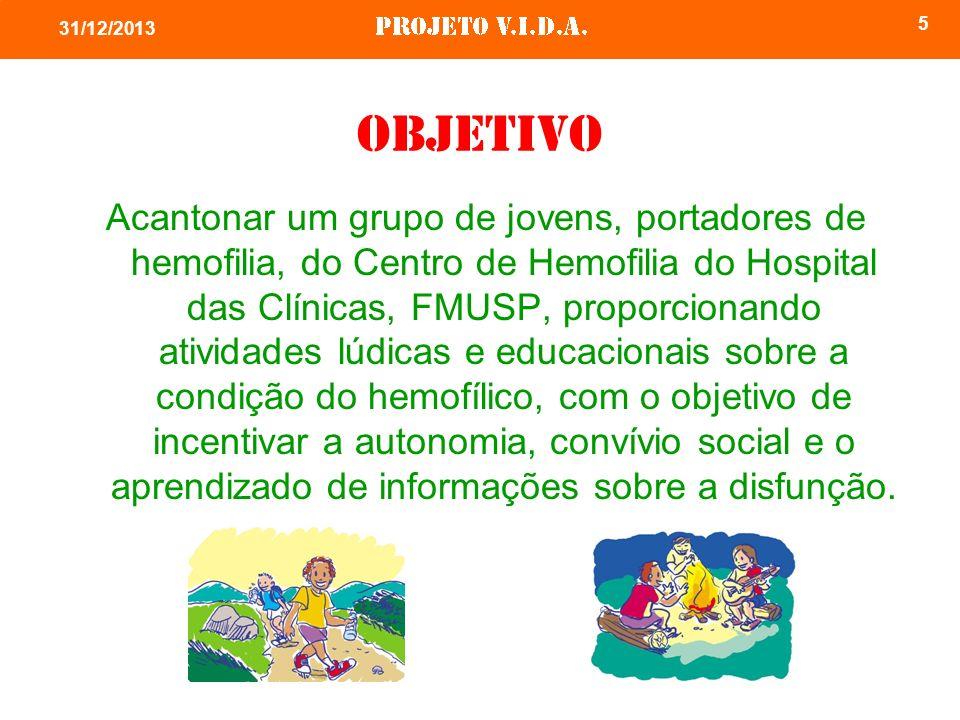 5 31/12/2013 Objetivo Acantonar um grupo de jovens, portadores de hemofilia, do Centro de Hemofilia do Hospital das Clínicas, FMUSP, proporcionando at