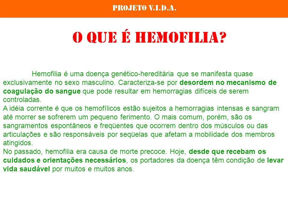 Hemofilia é uma doença genético-hereditária que se manifesta quase exclusivamente no sexo masculino. Caracteriza-se por desordem no mecanismo de coagu