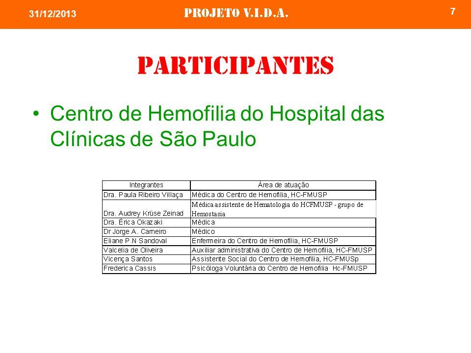 7 31/12/2013 Participantes Centro de Hemofilia do Hospital das Clínicas de São Paulo
