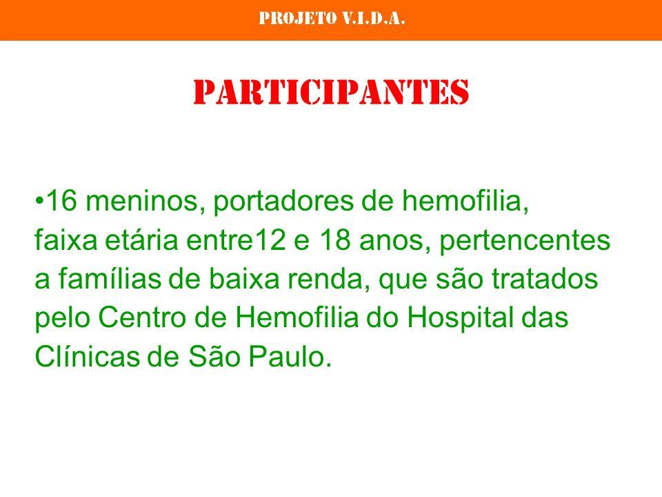 Participantes 16 meninos, portadores de hemofilia, faixa etária entre12 e 18 anos, pertencentes a famílias de baixa renda, que são tratados pelo Centro de Hemofilia do Hospital das Clínicas de São Paulo.