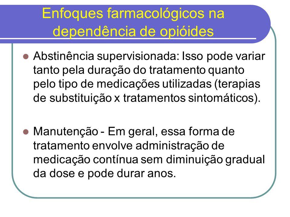 Terapia de Substituição As medicações de substituição são farmacoterapias da mesma classe da substância abusada.