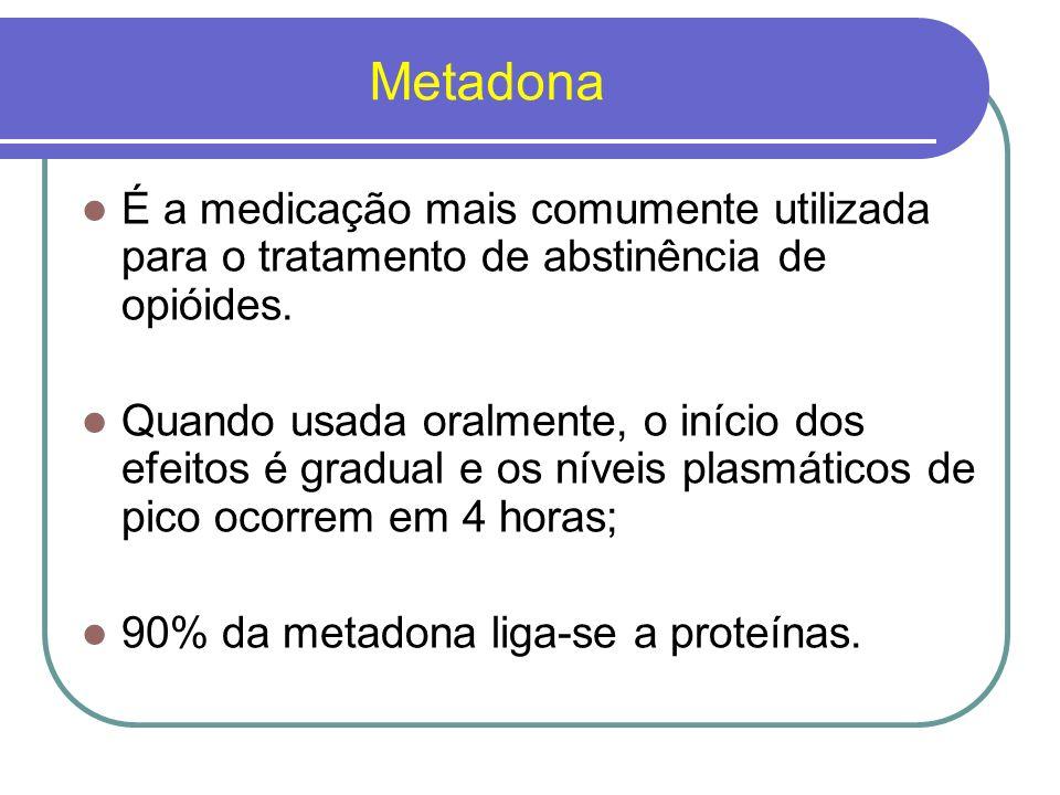 Metadona Possui meia-vida longa Em doses suficientes produz tanto a supressão dos sintomas da abstinência de opióides como o bloqueio (ou tolerância cruzada) dos efeitos de outros opióides.