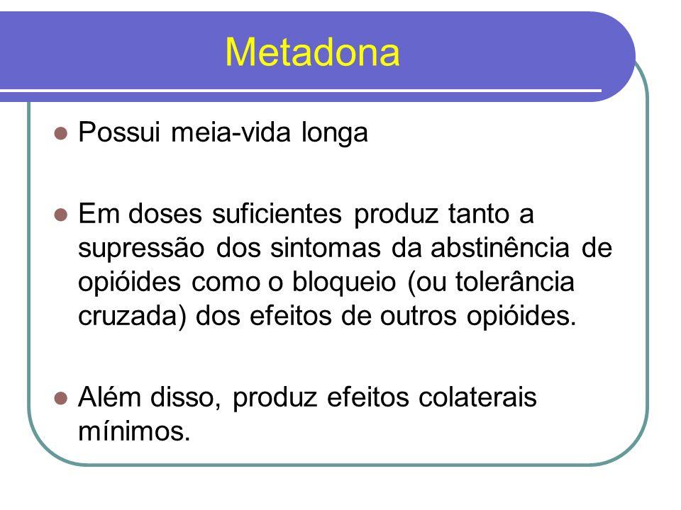Uso da Metadona A dose inicial gira em torno de 20 a 50 mg; Quando utilizada de forma ambulatorial as doses são tipicamente reduzidas lentamente (em geral, semanalmente, ou até em intervalos de tempo maiores);