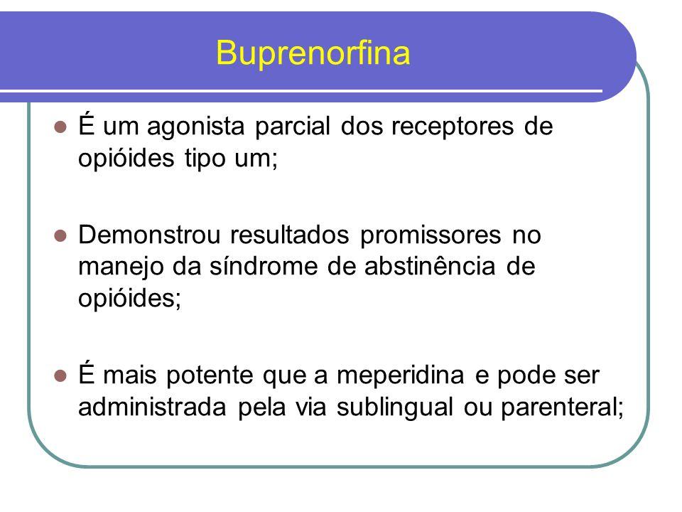 Buprenorfina Possui uma meia-vida longa, e tem um risco de abuso potencialmente baixo; Dose Inicial de até 32 mg/dia.