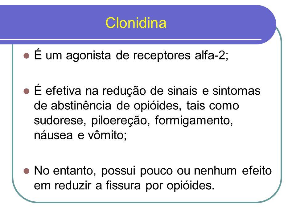 Clonidina As doses de clonidina variam de 0,6 a 1,2 mg/dia; Os dois principais efeitos colaterais são hipotensão e sedação; A clonidina não é recomendada para pacientes com histórico recente de acidente vascular cerebral, mulheres grávidas e pacientes com doenças cardíacas.