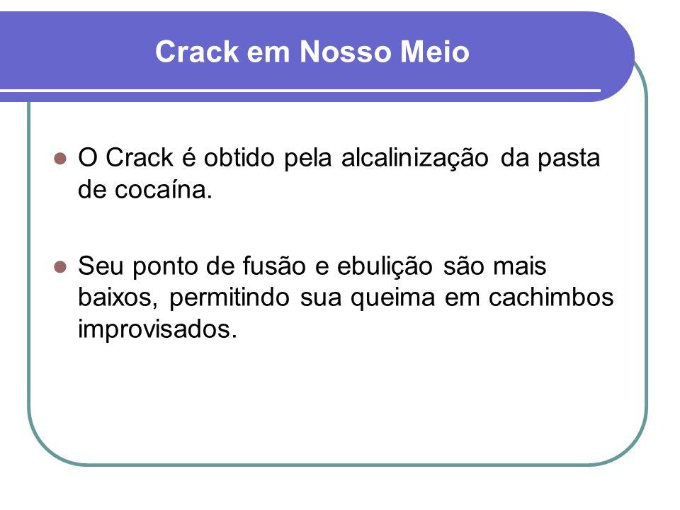Crack e seu Usuário Menor duração de efeitos. Elevados níveis séricos. Baixo custo.