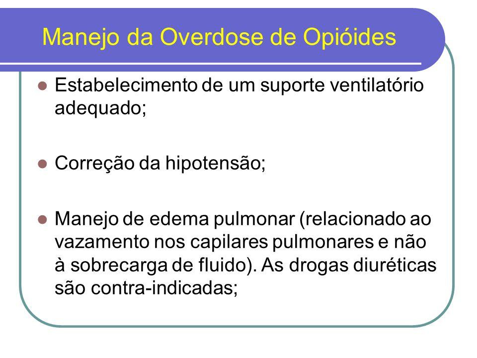 Manejo da Overdose de Opióides O uso de naloxona é proposto em todos os casos suspeitos; Avaliação da temperatura corporal, infecções, inclusive pneumonia de aspiração; Crises epilépticas induzidas por meperidina são revertidas pelo uso de naloxona.