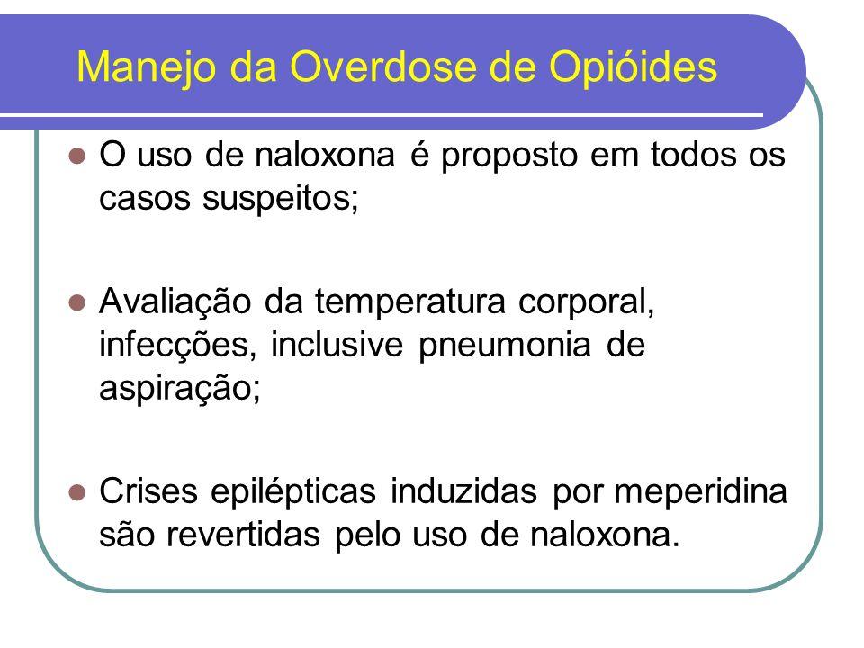 Síndrome de dependência de opióides As alterações adaptativas ocorrem com a ingestão da primeira dose de um opióide (denominada dependência física aguda ).