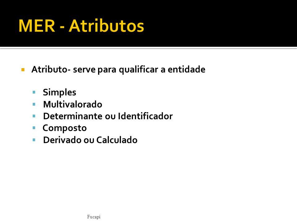 Atributo- serve para qualificar a entidade Simples Multivalorado Determinante ou Identificador Composto Derivado ou Calculado Fucapi