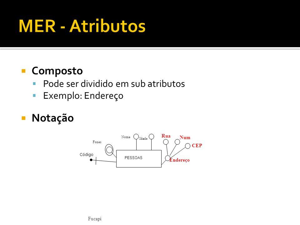 Composto Pode ser dividido em sub atributos Exemplo: Endereço Notação Fucapi Idade Num Rua CEP Endereço Nome Fones PESSOAS Código