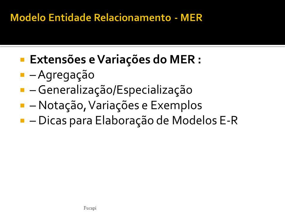 Extensões e Variações do MER : – Agregação – Generalização/Especialização – Notação, Variações e Exemplos – Dicas para Elaboração de Modelos E-R Fucap