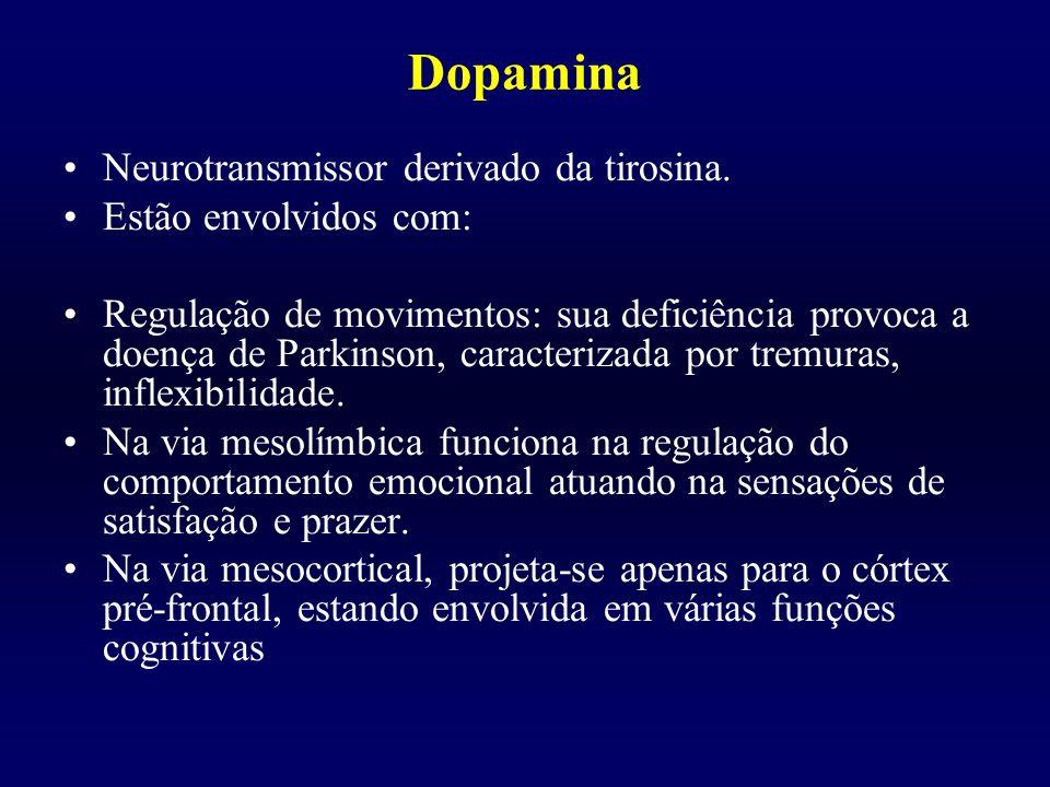 Dopamina Neurotransmissor derivado da tirosina. Estão envolvidos com: Regulação de movimentos: sua deficiência provoca a doença de Parkinson, caracter