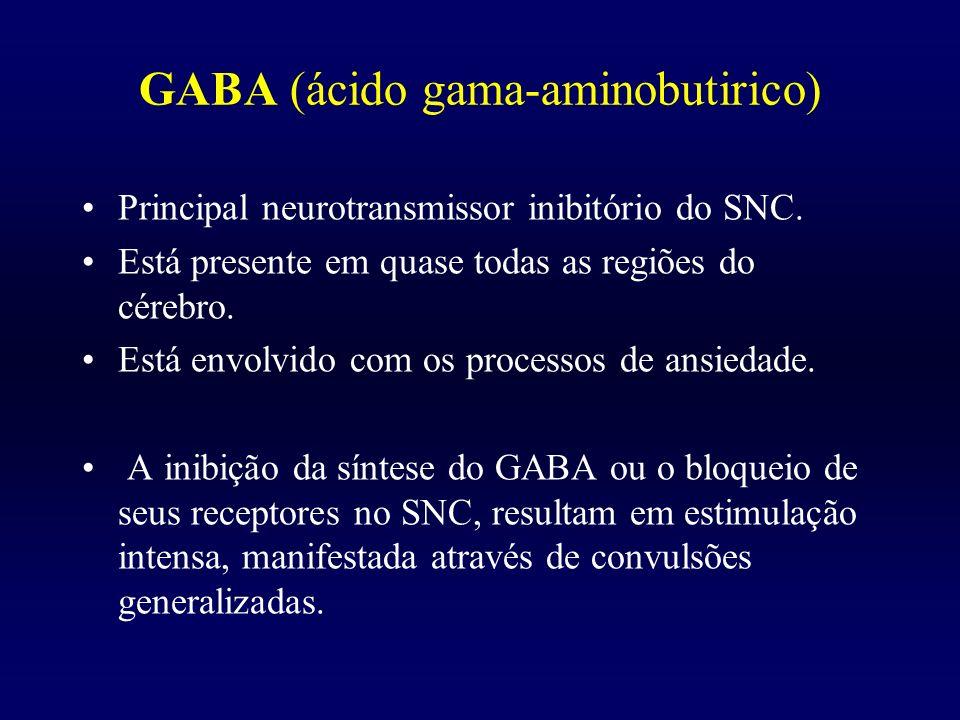 GABA (ácido gama-aminobutirico) Principal neurotransmissor inibitório do SNC. Está presente em quase todas as regiões do cérebro. Está envolvido com o