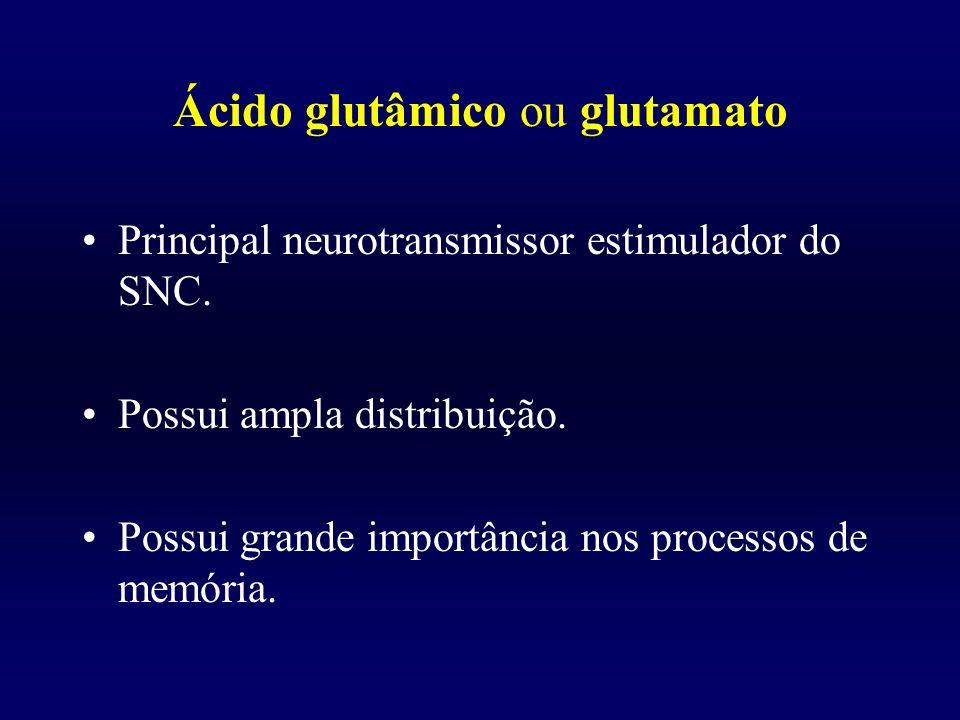 Ácido glutâmico ou glutamato Principal neurotransmissor estimulador do SNC. Possui ampla distribuição. Possui grande importância nos processos de memó