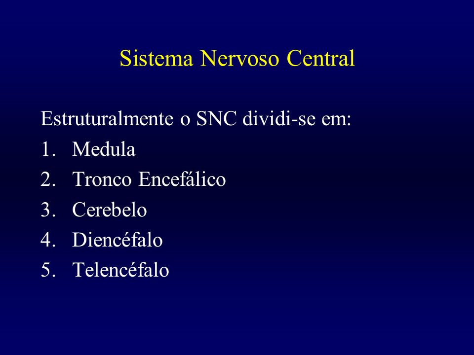 Sistema Nervoso Central Estruturalmente o SNC dividi-se em: 1.Medula 2.Tronco Encefálico 3.Cerebelo 4.Diencéfalo 5.Telencéfalo