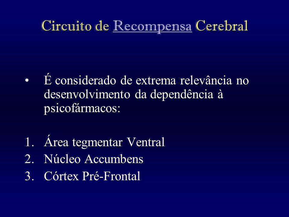 Circuito de Recompensa CerebralRecompensa É considerado de extrema relevância no desenvolvimento da dependência à psicofármacos: 1.Área tegmentar Vent