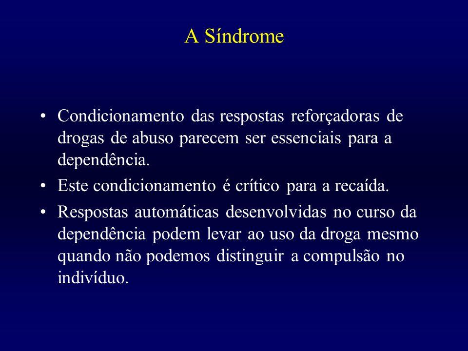 A Síndrome Condicionamento das respostas reforçadoras de drogas de abuso parecem ser essenciais para a dependência. Este condicionamento é crítico par